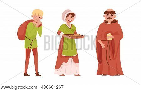 Medieval People Set. Peasants And Bishop European Middle Ages Historical Characters Cartoon Vector I