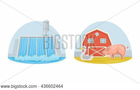 Hydroelectricity Power Station. Farm Animals And Red Barn Vector Illustration