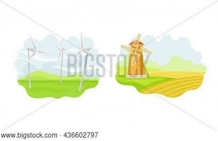 Old Rural Windmill. Alternative Source Of Energy. Green Renewable Energy Concept Vector Illustration