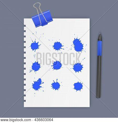 Set Of Ink Blots Of Blue Color, Vector Illustration