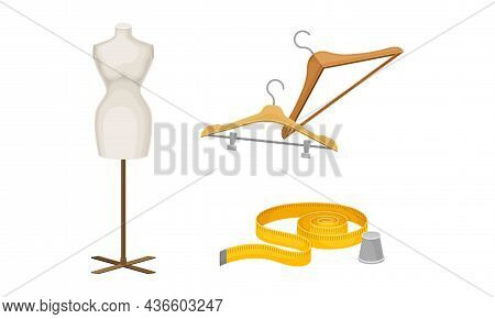 Sewing Tools Set. Dummy, Hangers And Measuring Tape Tailoring Supplies Vector Illustration
