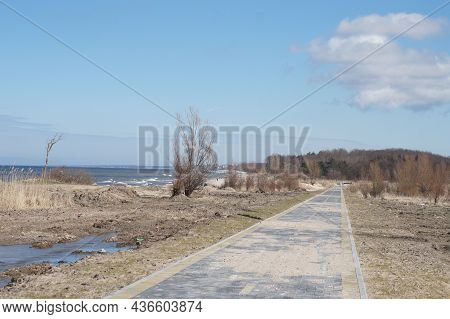Bicycle Lane Along The Sea. Construction Of A Bicycle Lane. Unfinished Pedestrian Road. New Bicycle