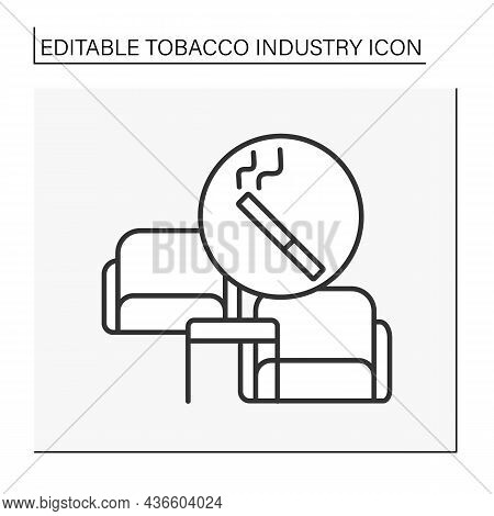 Smoking Room Line Icon. Rest Room For Smoke.comfortable Furniture. Tobacco Industry Concept. Isolate
