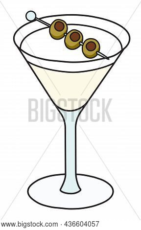 Dry Martini Variation Cocktail In Specific Glass. Gin Based Transparent Drink Garnished With Olives.