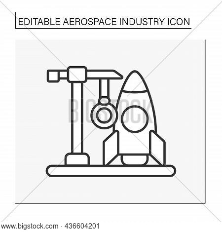 Building Line Icon. Development And Creating Rockets. Aerocraft. Aerospace Industry Concept. Isolate