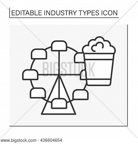 Entertainment Industry Line Icon. Radio, Television, Films And Theater Show Business. Commercial Ent
