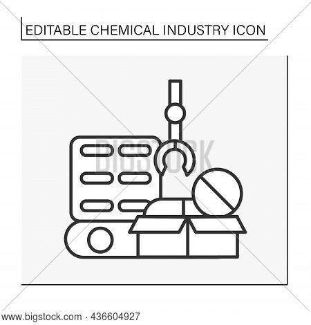 Pharmaceutical Chemistry Line Icon. Manufacturing Of Medications. Producing Drugs For People Treatme
