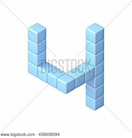 Blue Cube Orthographic Font Number 4 Four 3d Render Illustration Isolated On White Background