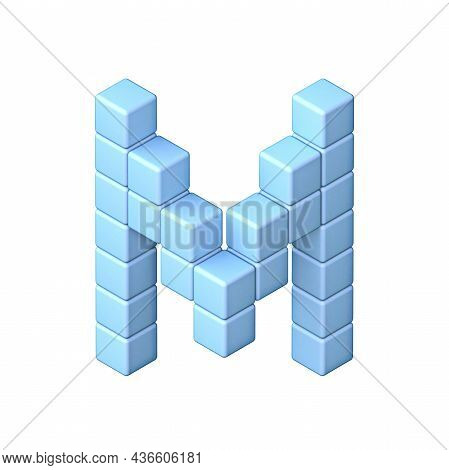 Blue Cube Orthographic Font Letter M 3d Render Illustration Isolated On White Background