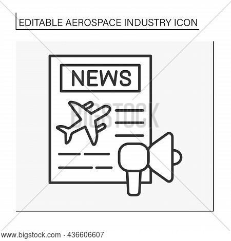 Plane Line Icon. Article In Newspaper. Marketing And Advertising. Aerospace Industry Concept. Isolat