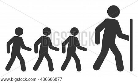 Hiking Group Leader Vector Icon. A Flat Illustration Design Of Hiking Group Leader Icon On A White B