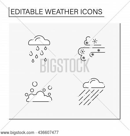 Weather Line Icons Set. Rainy Day, Floating Clouds, Heavy Rain, Dust Storm. Meteorology Concept. Iso