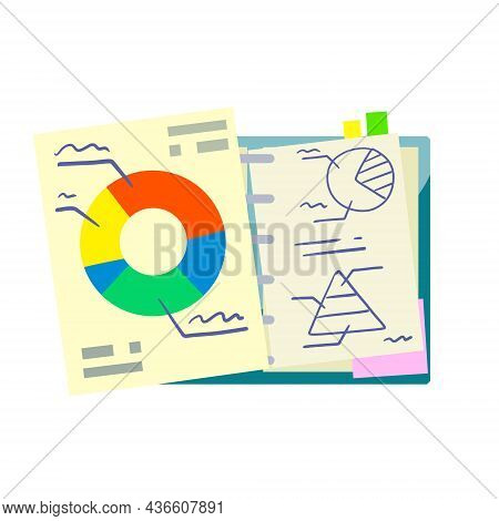Business Infographics On Piece Of Paper. Open Notepad. Pie Graph In Document. Statistics And Data An