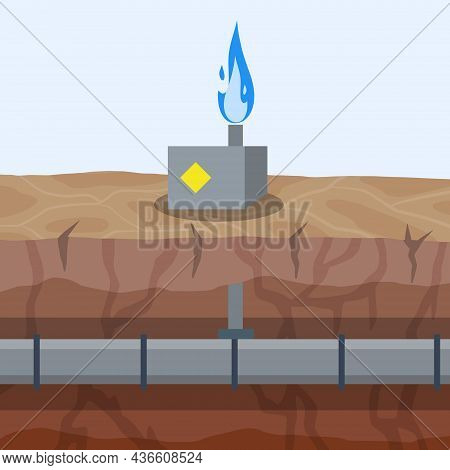 Gas Pipeline And Equipment. Gasmain With Blue Fire. Industrial Transportation Of Gas In Pipe Undergr