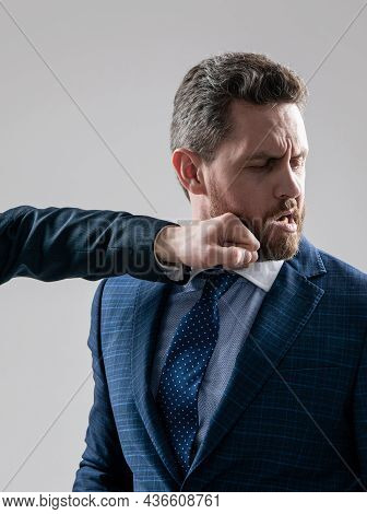 He Can Take A Punch. Businessman Got Punch In Chin. Physical Fighting. Workplace Violence