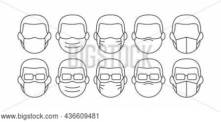 People In Medical Face Mask Line Vector Icon, Disease Prevention Concept. Protection Wear From Virus