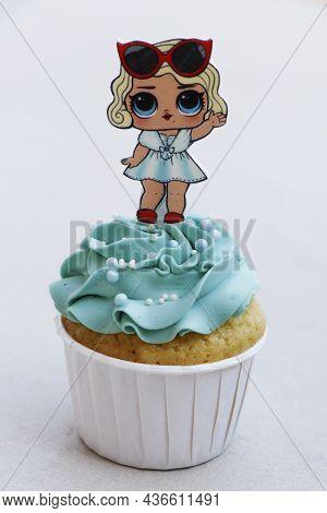 Dubai, United Arab Emirates -october 9, 2021 Frosted Decorated Cupcake Isolated With White Backgroun