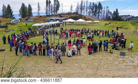 Pucara, Azuay, Ecuador - September 25, 2021: Celebration Of Killa Raymi (moon Party) Which The Andea