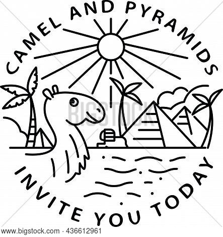 Travel To Egypt Concept. Monoline Vector Illustration With Pyramids, Camel And Palms. Invitatrion To