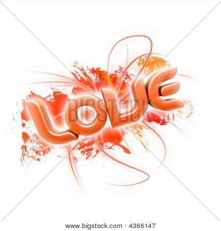 3D illustration of the word Love over a white background. poster