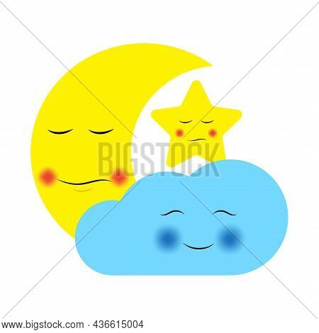 Cute Cloud, Star And Moon. Cartoon Style. Yellow And Blue Elements. Typography Design. Vector Illust
