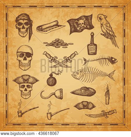 Pirate Map And Flag, Skull, Dagger And Fish Bones, Vector Sketch Elements. Pirate Treasure Island Ma
