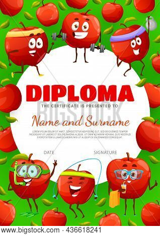 Kids Diploma Certificate With Cartoon Red Apple Characters On Sport And Leisure, Vector. School Appr