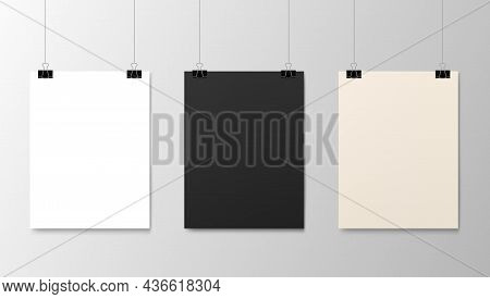 Hanging Paper Posters Mockups, Vector Realistic Sheets Of Paper On Strings. Photo Gallery Posters On