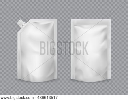 Doypack Pouch Realistic Food Packaging Mockup. Ketchup, Sauce, Mayonnaise Doypack. 3d Vector Foil Or
