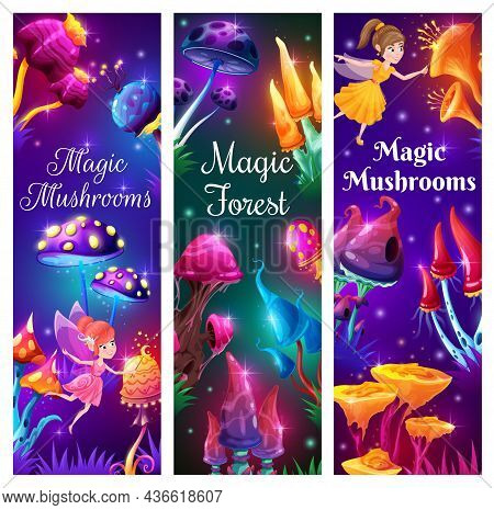 Cartoon Fairies And Magic Mushrooms In Fantasy Forest. Vector Strange Fungi, Unusual Fairytale Or Je