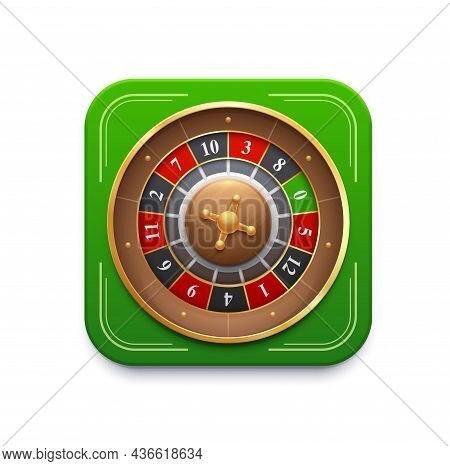 Casino Roulette Game Wheel Icon. 3d Vector Fortune Spin With Red Or Black Numbers And Green Field. G