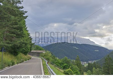 Road Through Alps, Natural Landscape In Dolomites Alps, Italy, Europe