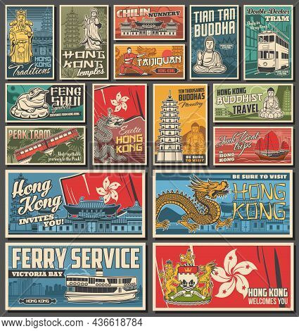 Hong Kong City Travel Posters, Architecture Landmarks, Religion Vector Symbols And Attractions. Hong