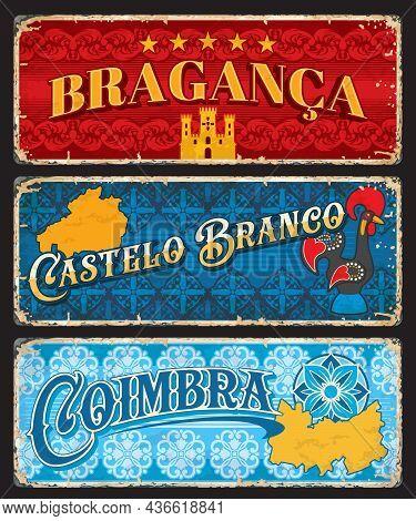 Braganza, Castelo Branco And Coimbra, Portuguese Provinces Plates, Vector Travel Stickers. Portugal