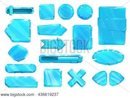 Ice Crystal User Panel Interface, Buttons, Slider Plates And Arrow Keys, Vector Game Asset Ui Set. B