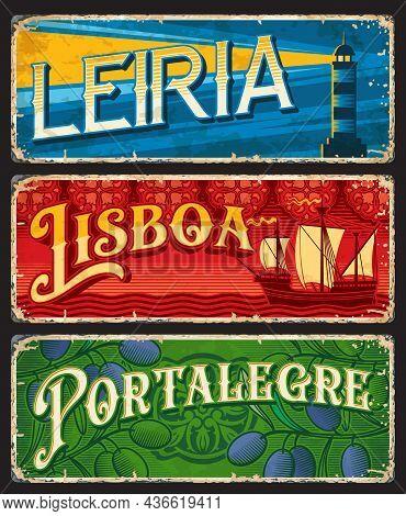 Lisboa, Leiria And Portalegre, Portuguese Province Plates, Vector Tin Signs. Portugal Travel Luggage