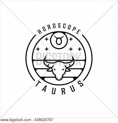 Bull Zodiac Of Taurus Logo Line Art Simple Minimalist Vector Illustration Template Icon Design. Horo