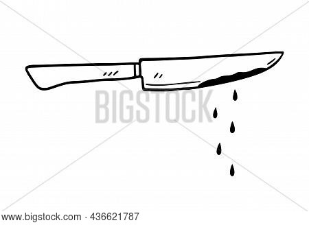 Steel Bloody Knife Isolated On White Background. Hand-drawn Vector Illustration In Doodle Style. Per