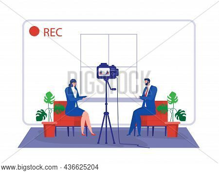 Business Woman Gives Interview To Television Presenter In Broadcast Studio. Internet Interview Chann