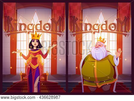 Kingdom Posters With King And Queen In Medieval Castle. Vector Flyers With Cartoon Illustration Of B