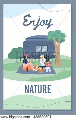 Family Have A Picnic At The Park. Happy Family Eat Food Sitting On A Blanket And Enjoy Nature.