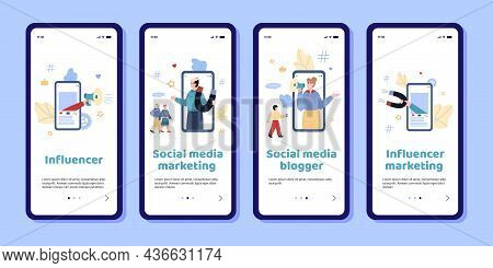 Set Of Vector Mobile Phone Apps For Advertising Influence Marketing.