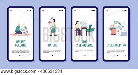 Set Of Smartphone Apps With Calls To Stop Cyberbullying And Abuse In Internet.