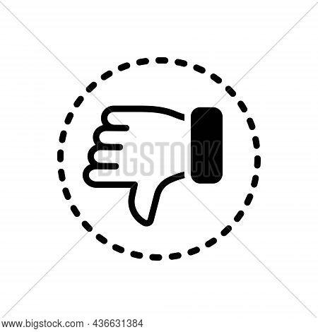 Black Solid Icon For Negative Pessimistic Thumb Denied Dislike Rejected Unlike