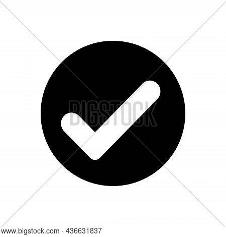 Black Solid Icon For Checked True Ok Correct Right Accurate Confirm Checklist