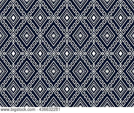 White Tribe Or Ethnic Seamless Pattern On Blue Background In Symmetry Rhombus Geometric Bohemian Sty
