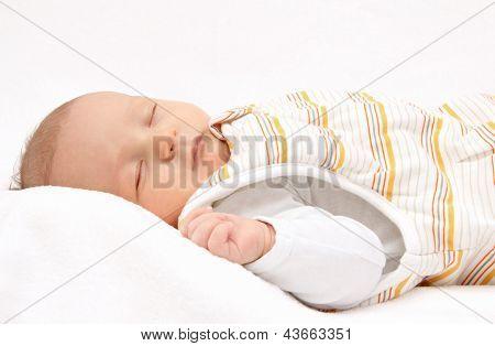 Sleeping Baby On Back In Sleeping Bag