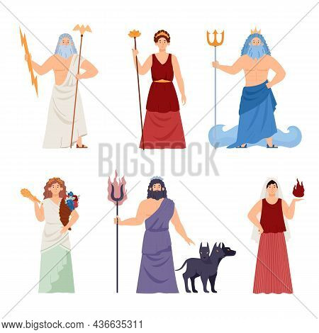 Olympic Greek Antique Gods Characters Set, Flat Vector Illustration Isolated.