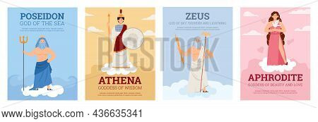 Set Of Vector Posters With Olympian Goddesses And Gods Ancient Greek Mythology