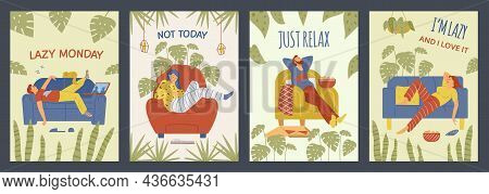 Vector Posters With Lazy Male And Female Persons Relaxing At Home.